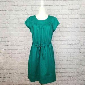 Merona green short sleeve pockets tie waist dress